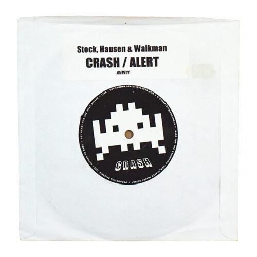 invader crash alert vinyl record front cover with stock hausan & walkman sticker