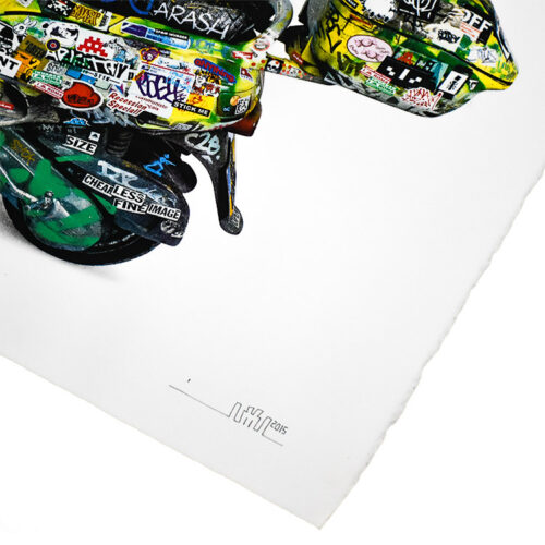 invader scooter print showing close up of invader signature on bottom right