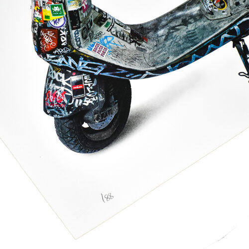 invader scooter print showing close up of edition number on bottom left