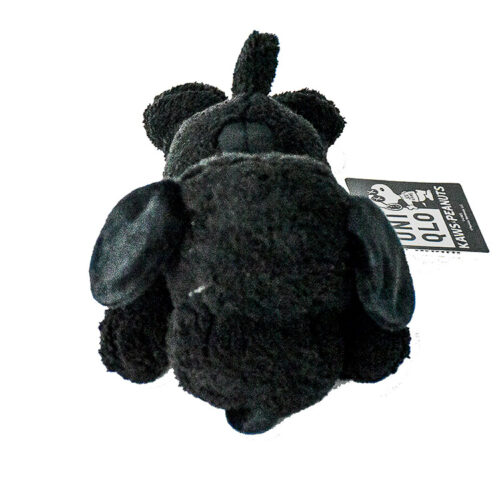kaws uniqlo snoopy plush black small showing from front