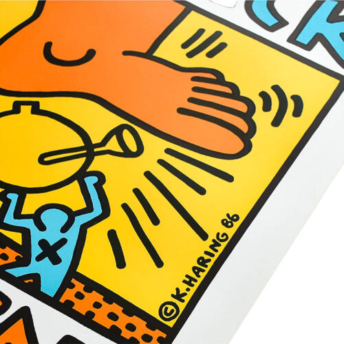 keith haring crack down poster showing keith haring printed signature