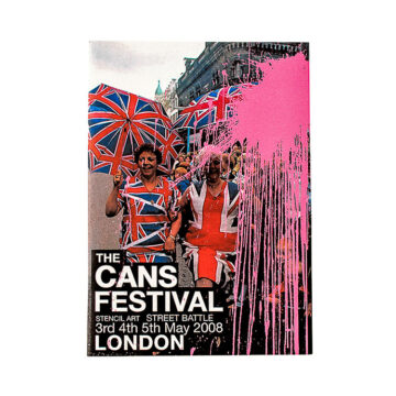 banksy cans festival book catalog front cover with paint splatter