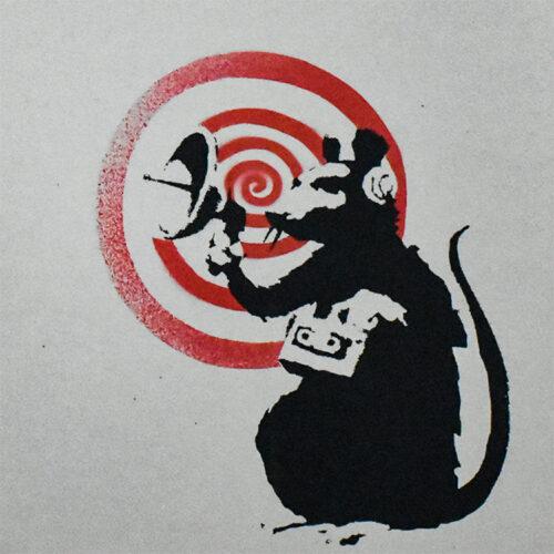 banksy dirty funker future radar rat grey cover showing close up of banksy rat