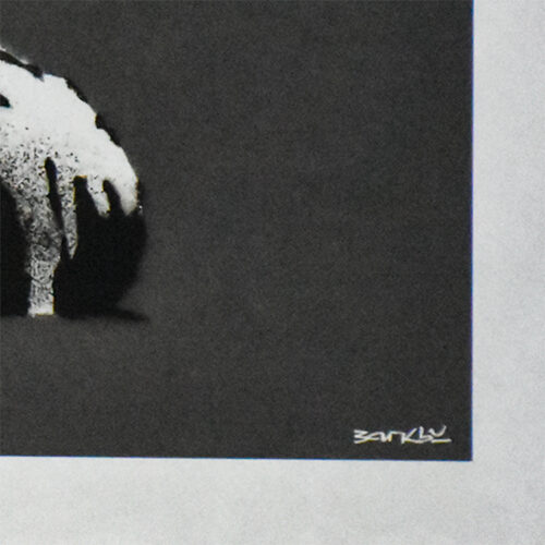banksy forgive us our trespassing showing bottom right with banksy printed signature