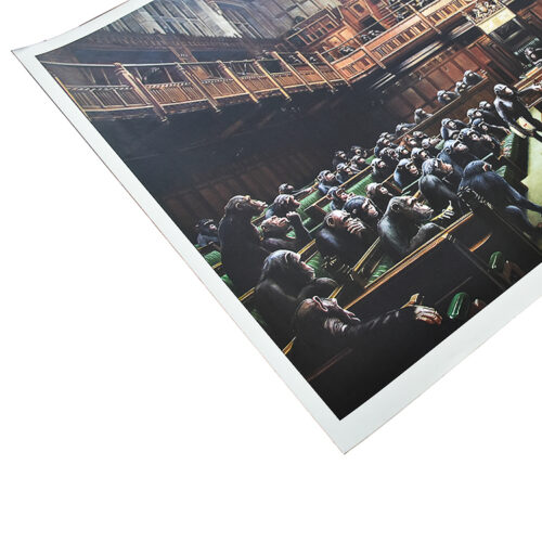 banksy monkey parliament showing left side of poster
