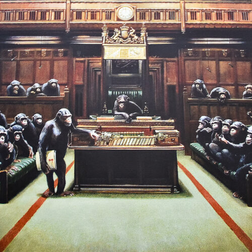 banksy monkey parliament showing middle details