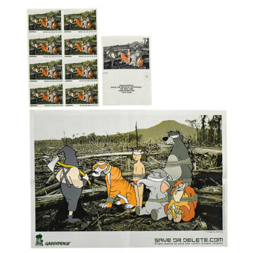 banksy save or delete with postcard and sticker sheet