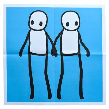 stik holding hands blue poster