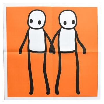 stik holding hands orange poster