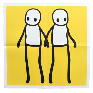 stik holding hands yellow poster