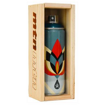 shepard fairey lotus flower spray can in custom wood display case