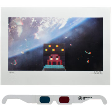 invader art4space 3d print with 3d glasses